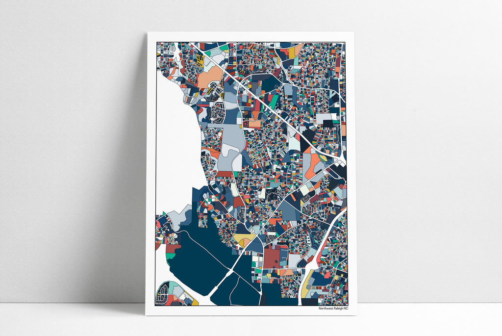 North Raleigh NC Map Art Poster