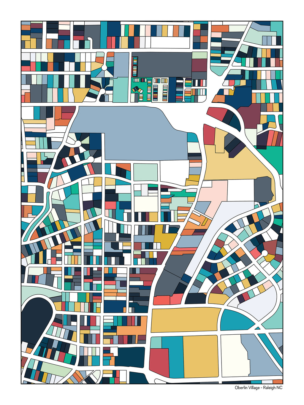Neighborhoods of Oberlin Road Raleigh NC Map Art Prints