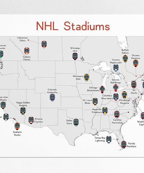 NHL Stadiums Map, Hockey Stadiums Map, Man Cave, NHL Stadium Print, Hockey Poster, Gift for Him, Hockey Print, Stadium Map, Hockey Map
