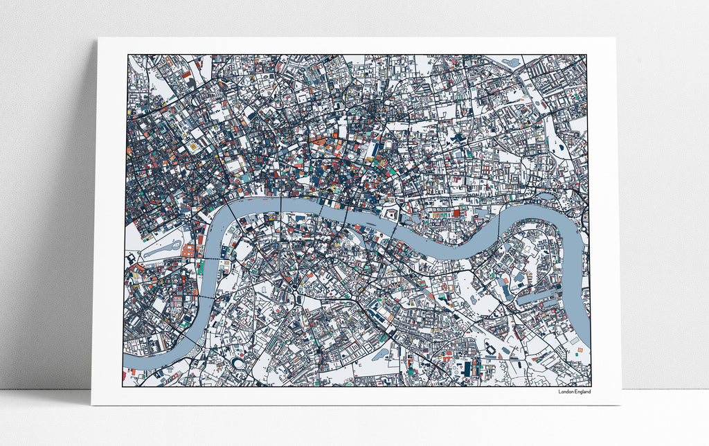 London Map Art Print, London England Home Decor, London Streets, London Poster, London Gift