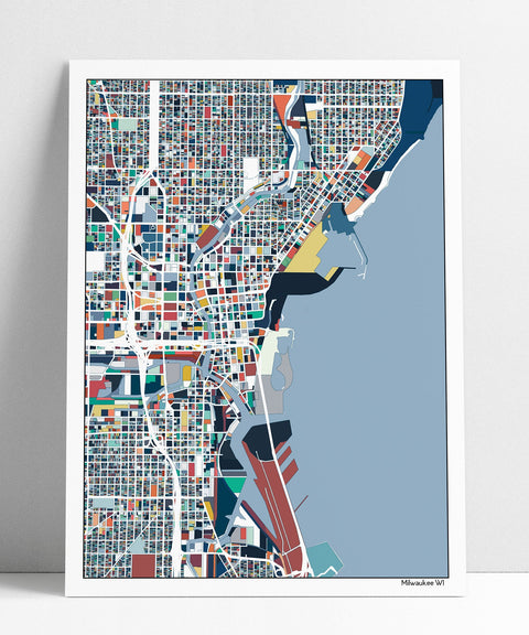 Milwaukee Map Art Milwaukee WI Art Map Print Poster Wisconsin Housewarming Gift Milwaukee Wisconsin Wall Art Home Decor Gift Multiple Colors