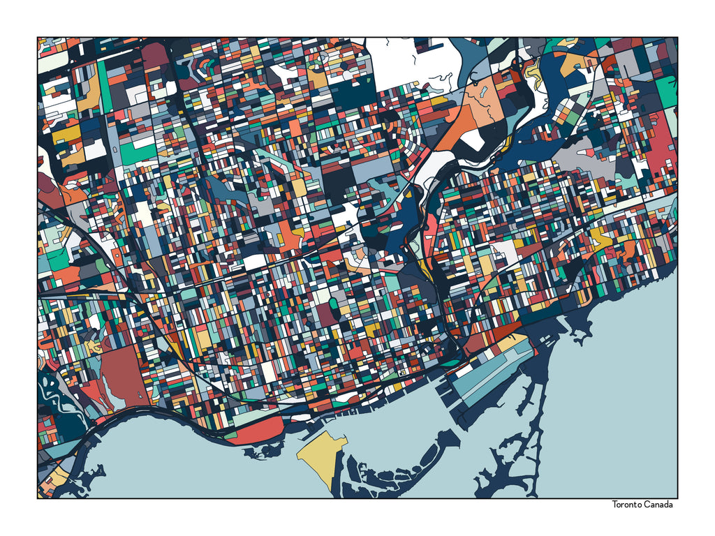 Toronto Ontario Canada Map Art Print Toronto Poster Toronto Wall Art Home Decor Ontario Abstract Toronto City Map Artwork