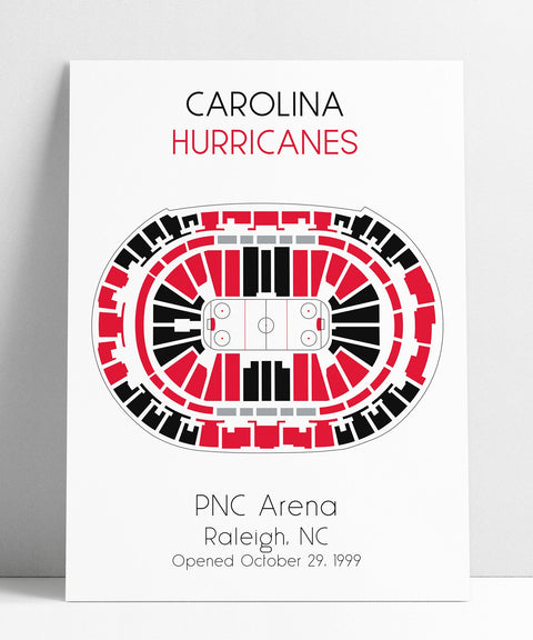 Carolina Hurricanes NHL Stadium PNC Arena Map Art Man Cave Wall Decor, Hockey Stadium Poster Gift, NHL Stadium Seating Chart Print Artwork
