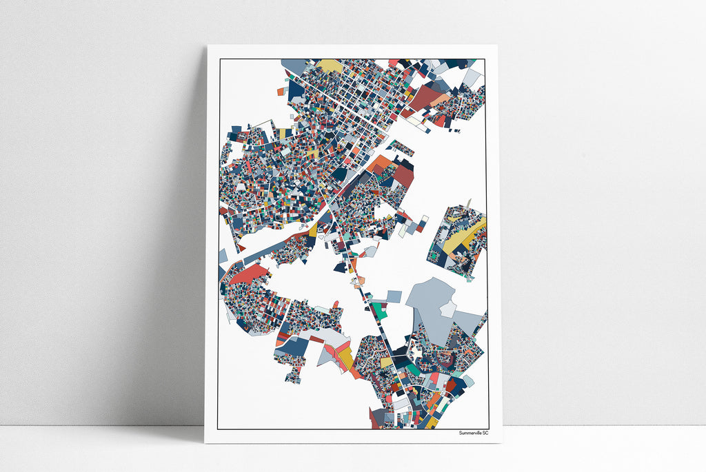 Summerville SC City Map Art Print, Summerville South Carolina Map Artwork Poster, Dorchester, Azalea Park, Pine Forest, Wassamassaw Park