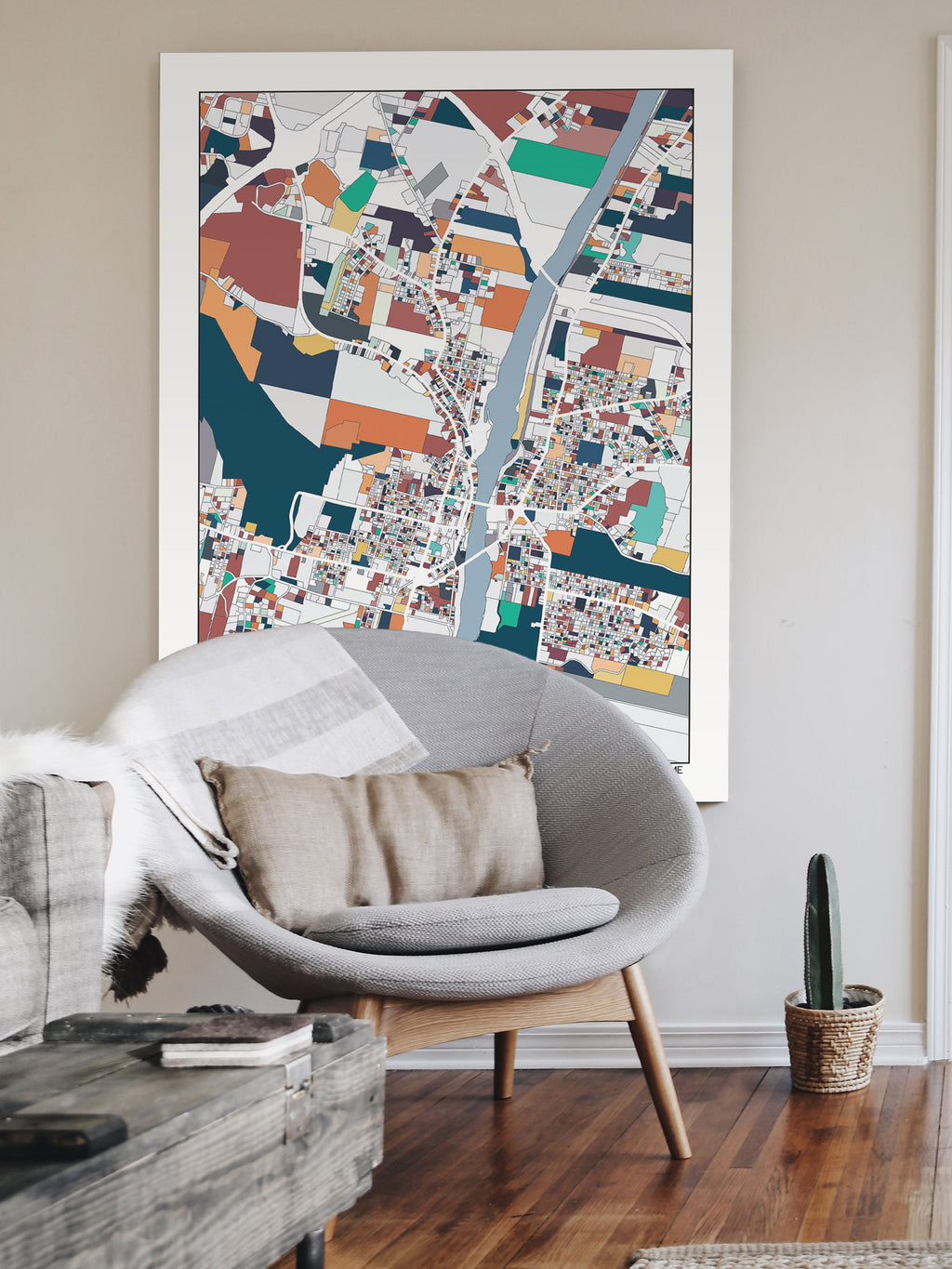 Augusta ME City Map Art Print Augusta Maine Map Poster Wall Art Home Decor Office Decor Travel Map Abstract Art
