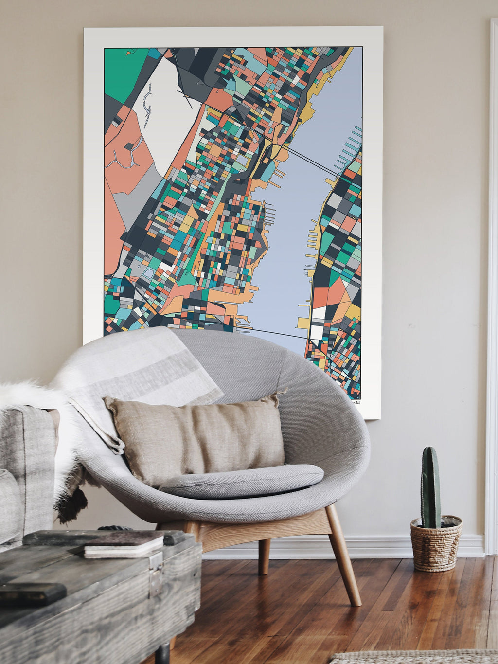 Hoboken New Jersey Map Art Print Poster Wall Art Home Decor Hoboken NJ Abstract City Map Artwork Hudson River Hometown Wedding Gift