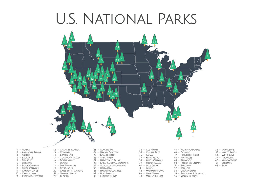 National Parks Checklist Map 62 US National Parks | Nursery Art