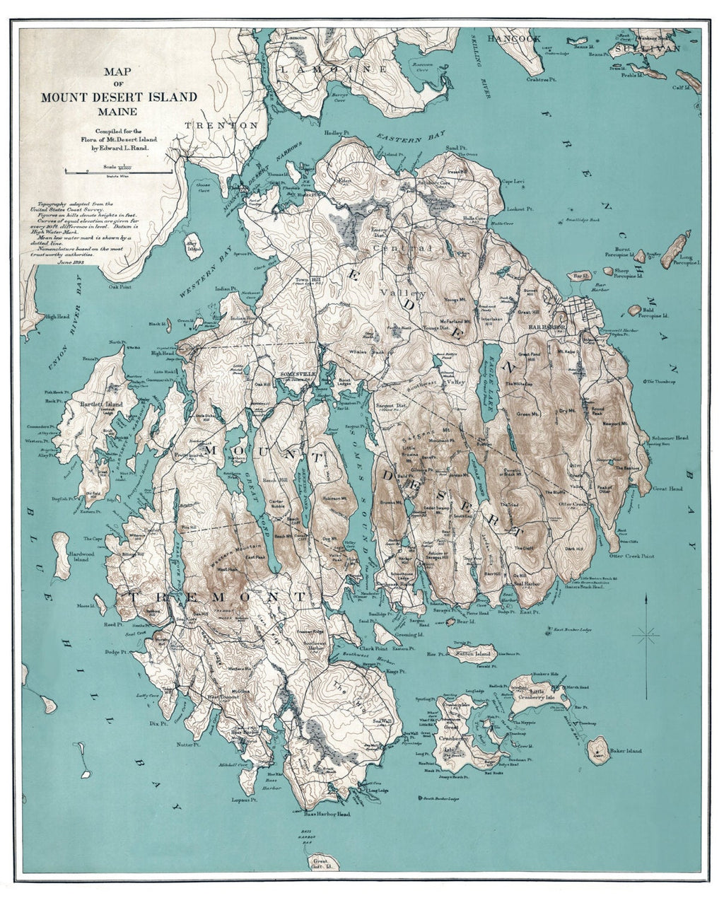 Mount Desert Island Maine Historic Map Art Print, Mt Desert Island, Maine Art, Mount Desert Island Art