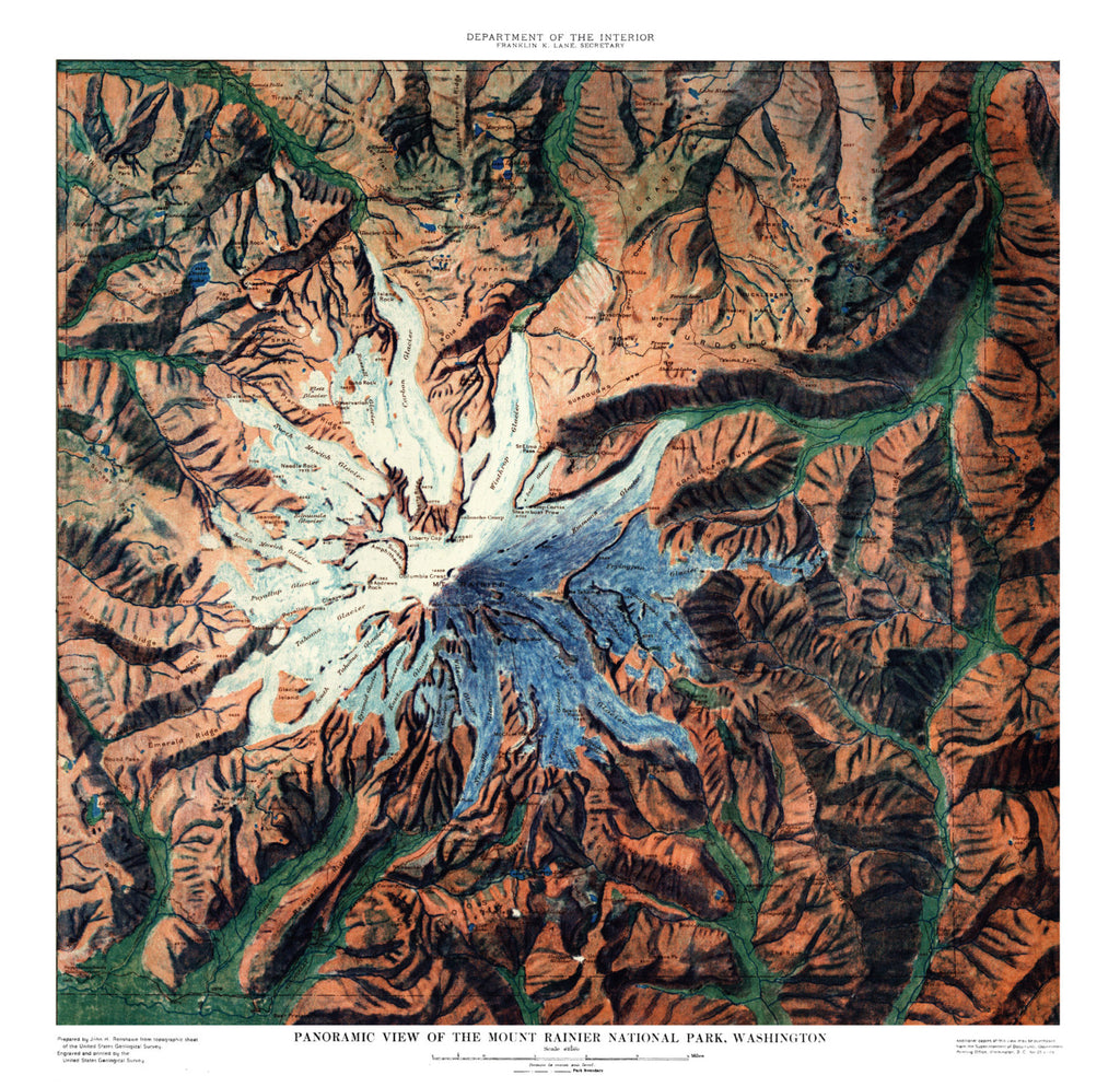 Mt Rainier Map Art - ParMar Media
