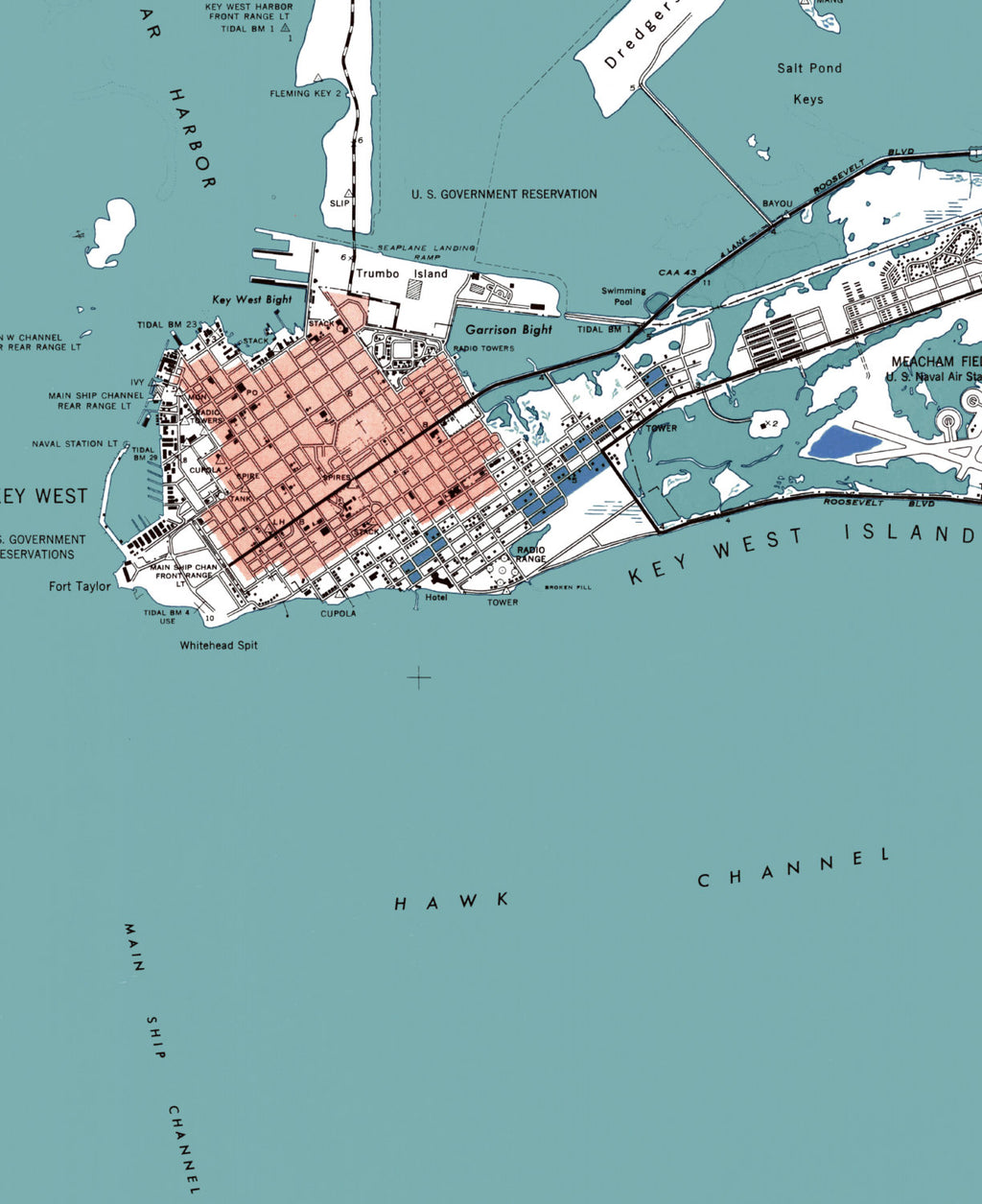 image regarding Printable Map of Key West known as Solution West FL - 5x7 ( $12.00 )