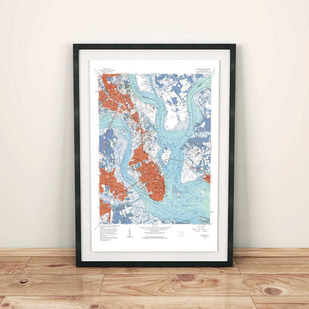 Historic Charleston SC Map Poster Print, Charleston South Carolina, Vintage Charleston Map Print, Charleston Map, SC Art, SC Map Print