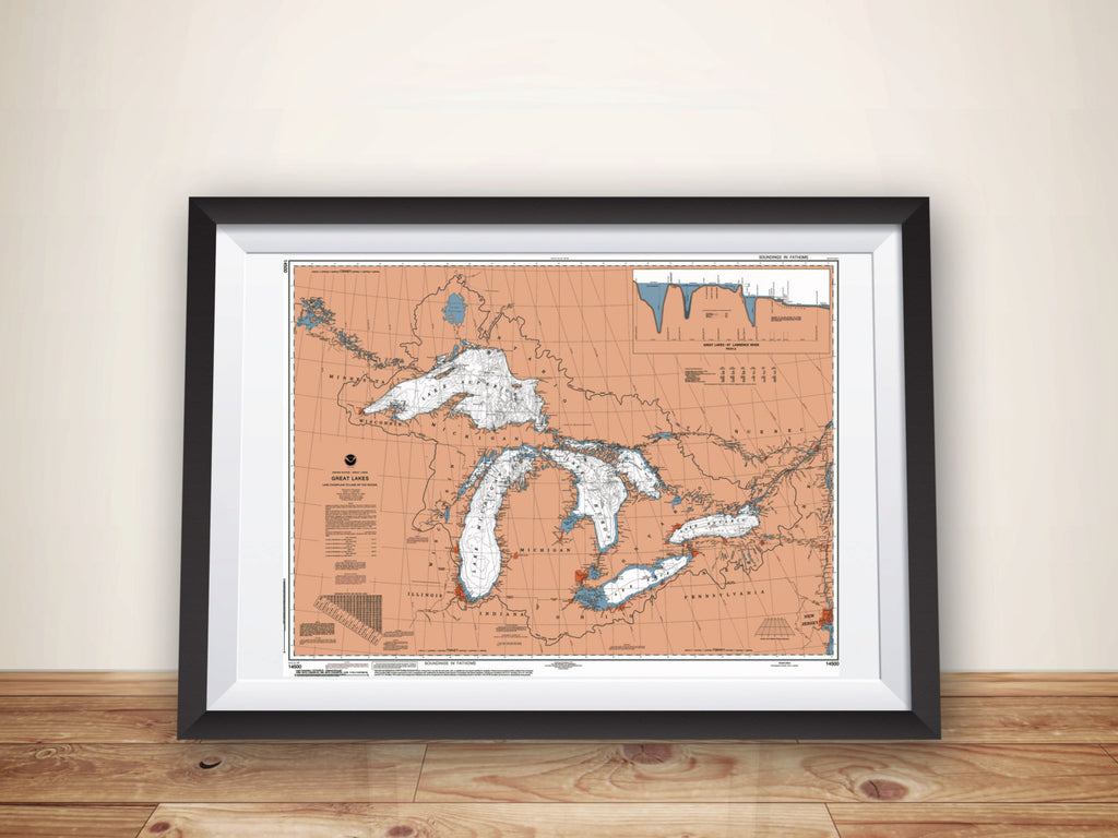 Great Lakes Map NOAA Nautical Chart Poster Print, Boating Gift, Sailing Art, Great Lakes Map, Great Lakes Art, Lake House Decor