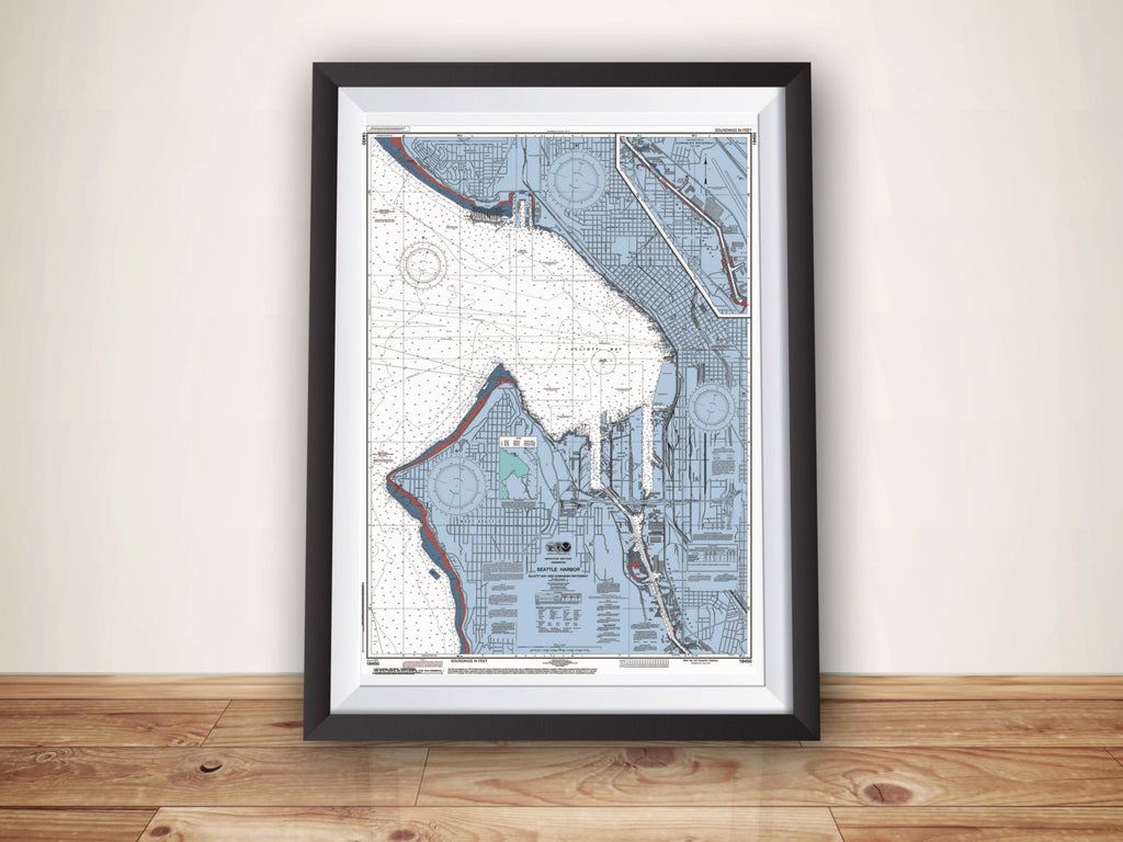 Seattle Washington noaa Nautical Chart Map Poster, Nautical Chart Print, Seattle Map, Seattle Art, Seattle Poster, Seattle Print, Home Decor