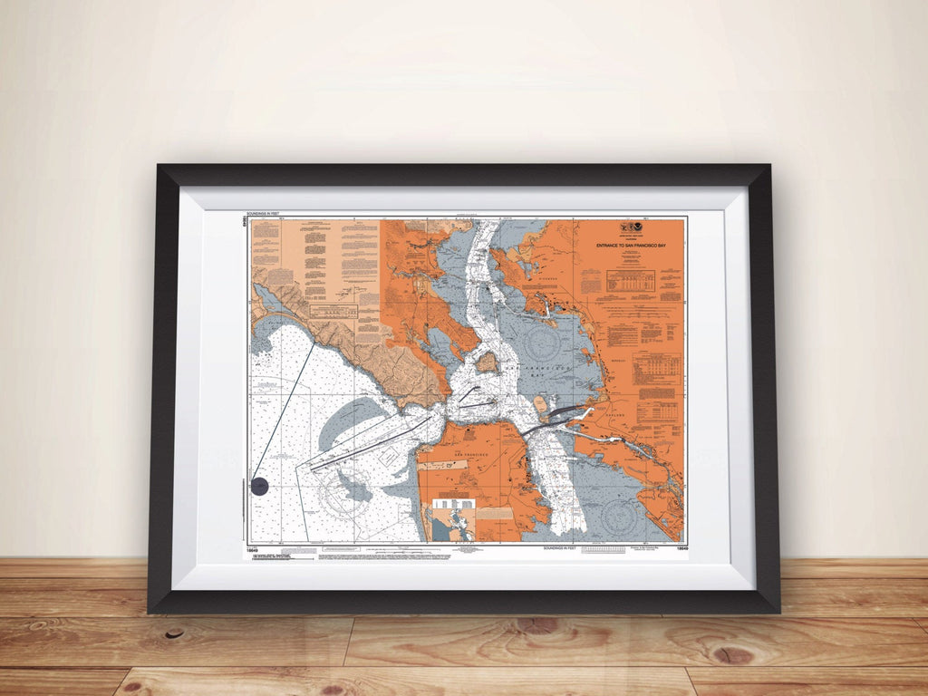 San Francisco NOAA Nautical Chart Map Poster, San Francisco CA Map Art Print, Boating Gift, Sailing Gift, San Francisco Bay, Bay Area