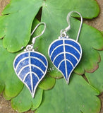 Lapis Bodhi Leaf Earrings