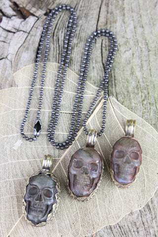 Small Labradorite Skull Pendant Necklace