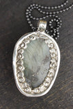 Luminous Layered Labradorite Skull Necklace