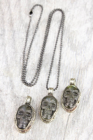 Awareness of Inner Spirit Labradorite Skull Necklace