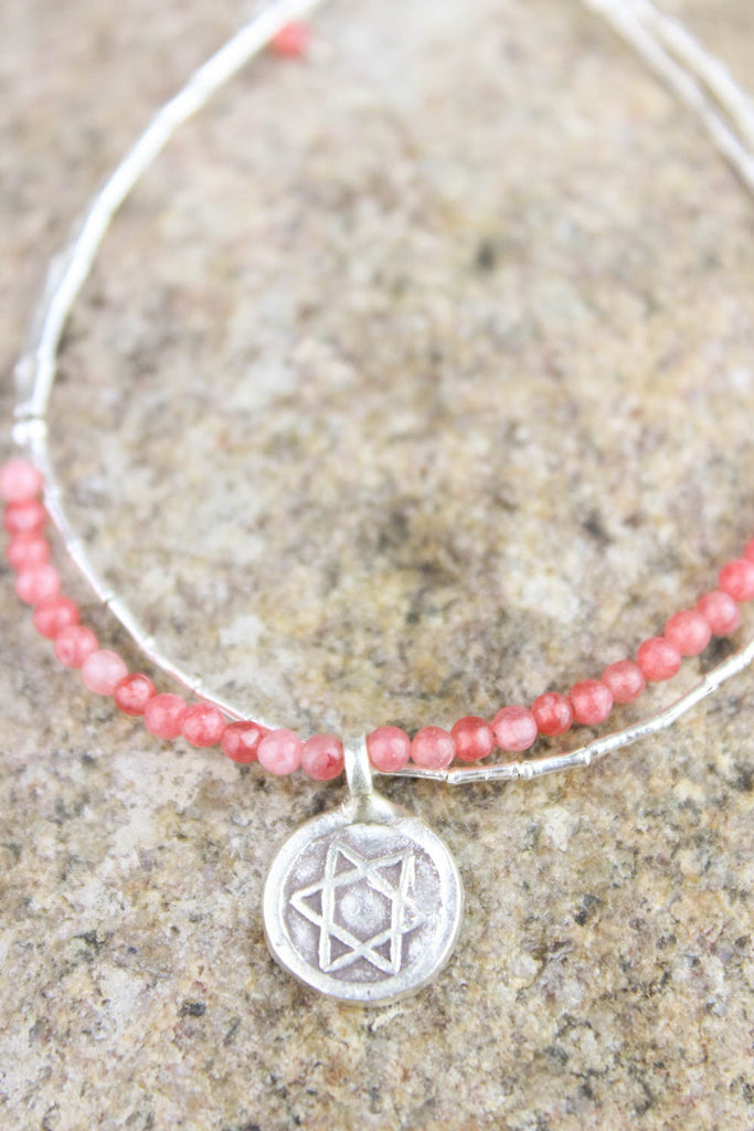 Graceful Star of David Silver Charm Bracelet