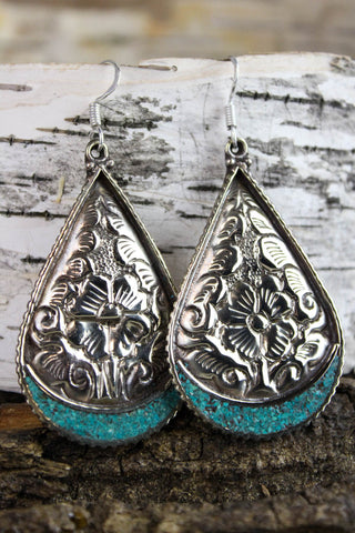 Turquoise and Floral Silver Teardrop Earrings