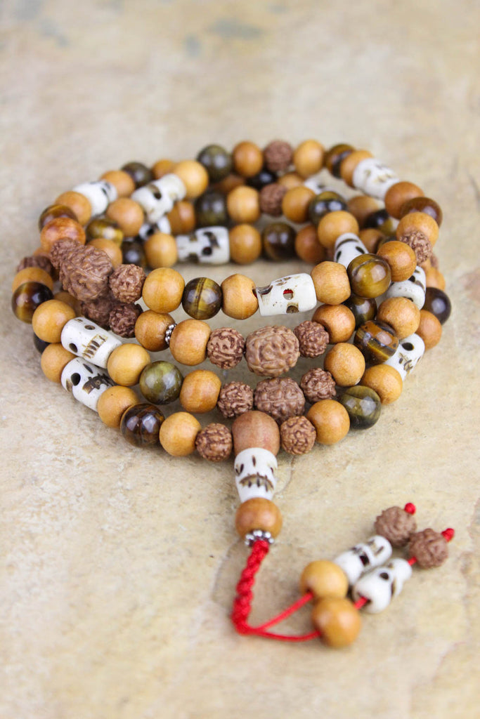 Calm Understanding Tiger Eye and Skull Mala Beads