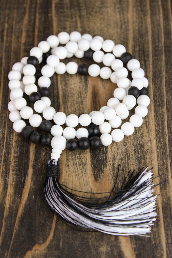 White Jasper and Onyx Reflection Mala