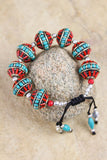 Traditional Turquoise and Coral Large Bead Bracelet