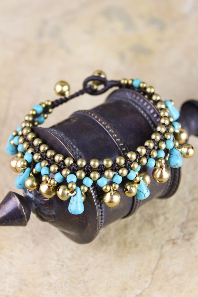 Turquoise and Gold Bell Bracelet