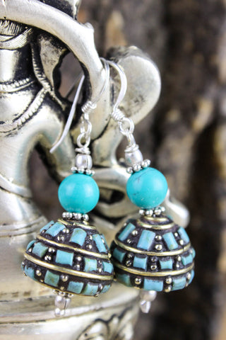 Traditional Turquoise and Silver Earrings