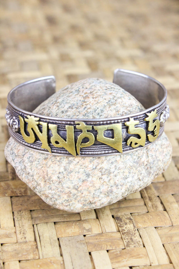 Tibetan Mantra with Dories and Garuda Sterling Bracelet