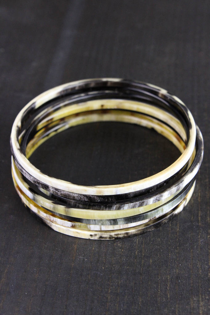 Water Buffalo Horn Bracelet Stack