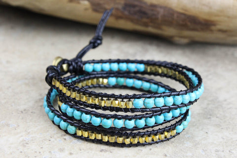 Serene Turquoise and Brass Wrap Bracelet