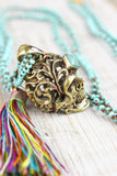 Consciousness and Creativity Filigree Brass Skull Necklace