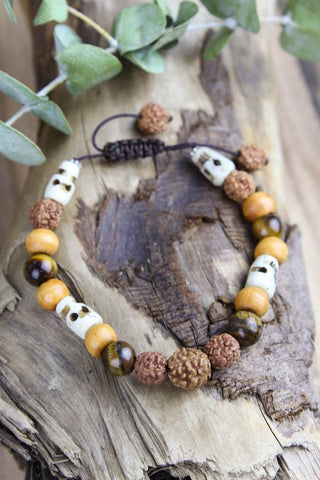 Calm Understanding Tiger Eye and Skull Bracelet