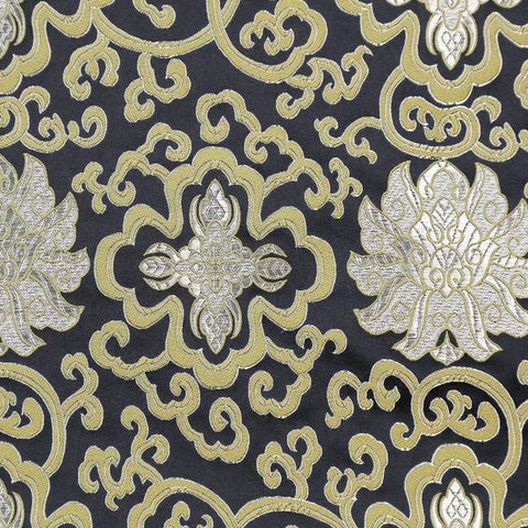 Black Lotus Brocade Fabric by the Yard