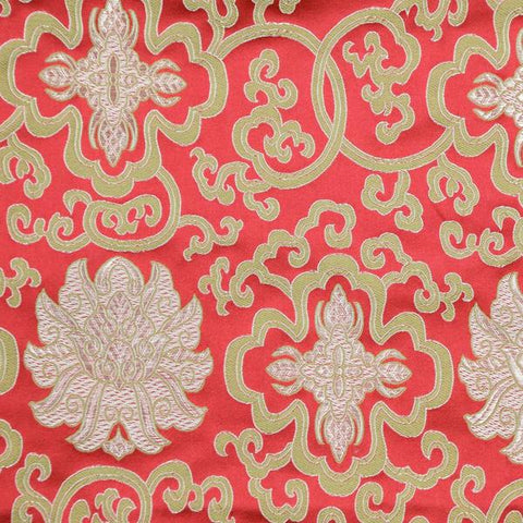 Red Lotus Brocade Fabric by the Yard