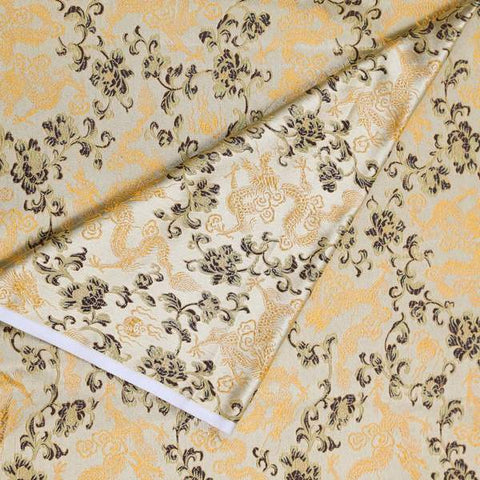 Golden Dragon Brocade Fabric by the Yard