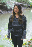 Black Om Long-Sleeve Top with Deity Design