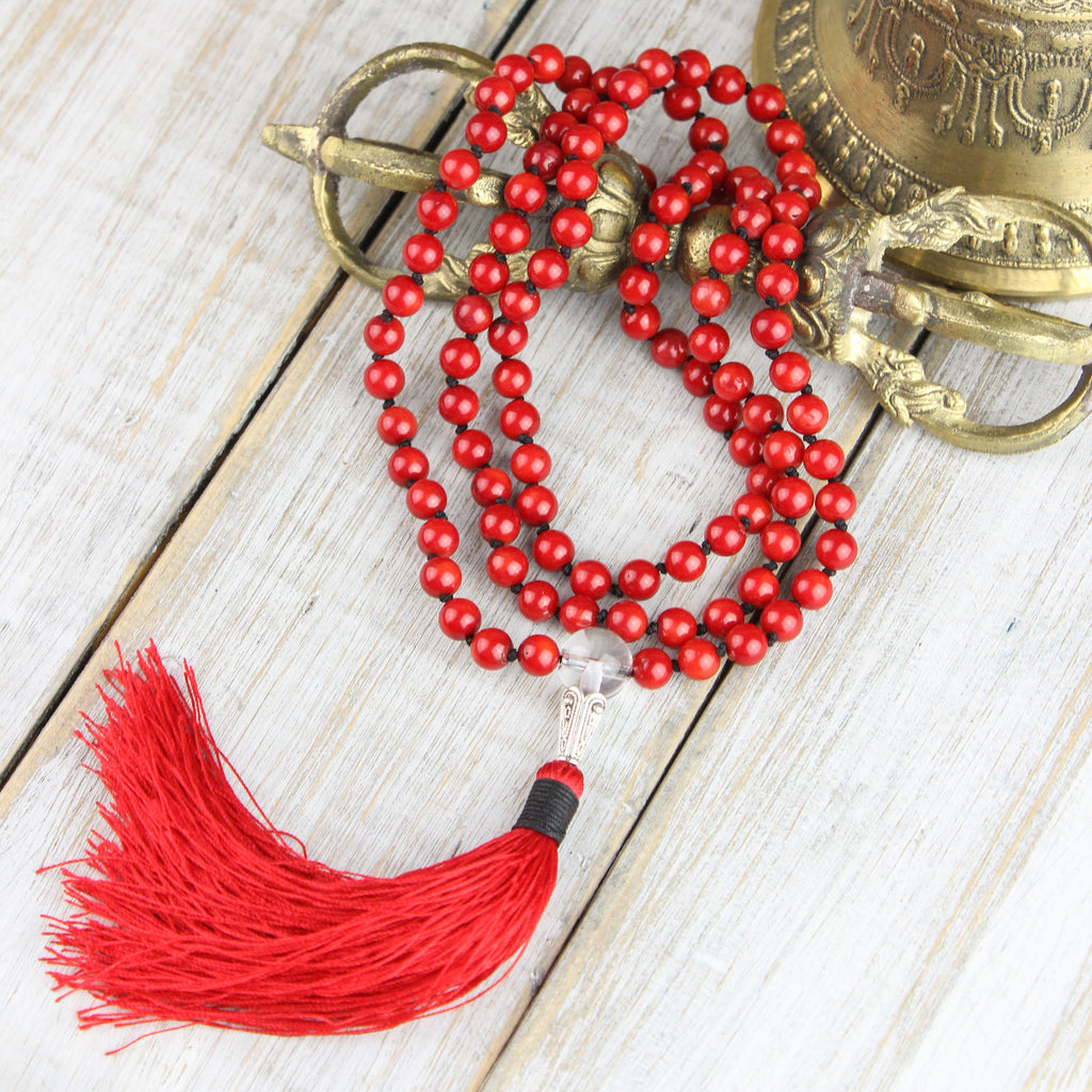 Knotted Red Coral Passion Mala