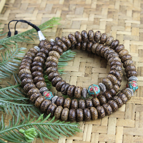 Grounding Palm Wood and Vintage Bead Mala