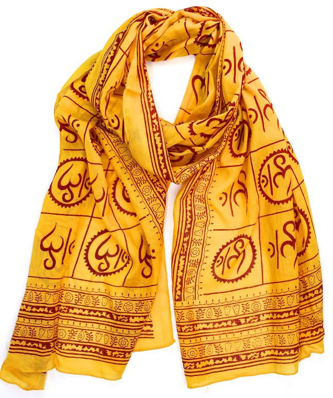 New Om Prayer Scarf in Sunflower Yellow