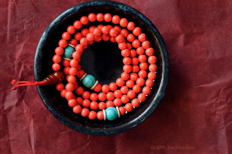Coral Colored Granite Mala with Spacers