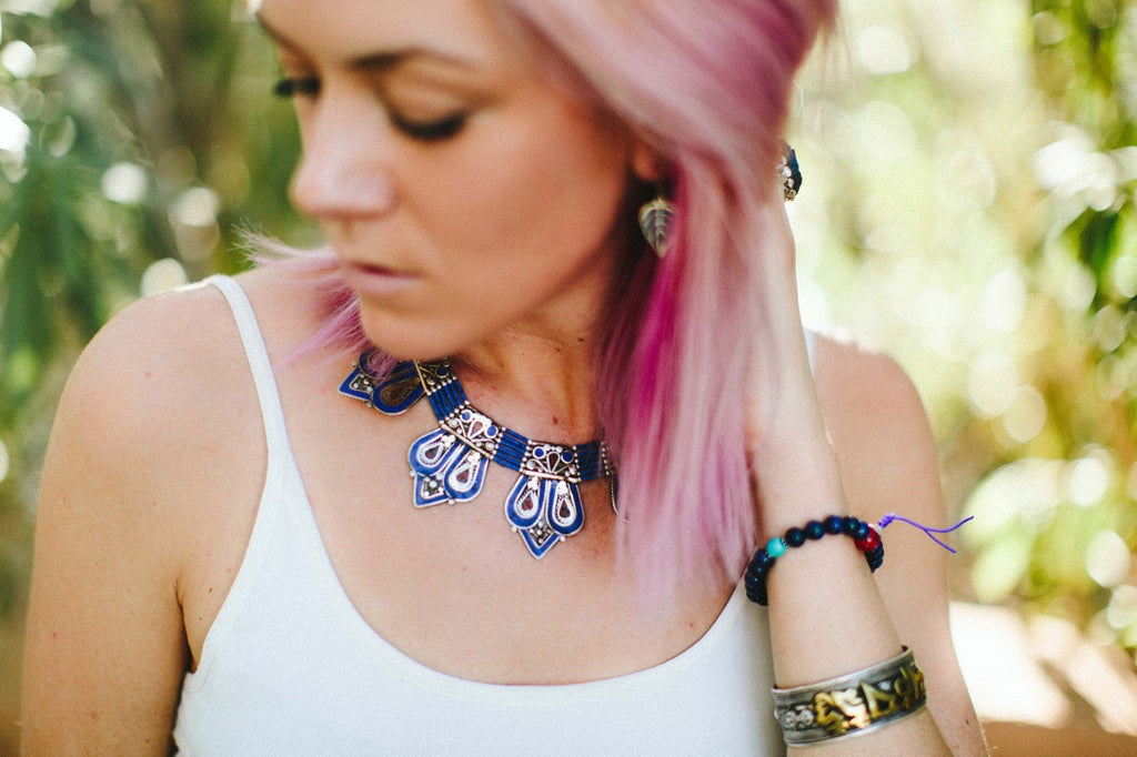 Lapis and Coral Himalayan Necklace