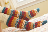 Blue/Multi Wool Slipper Socks