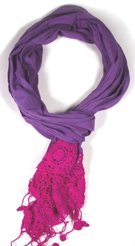 100% Cotton Fair Trade Violet Crochet Scarf