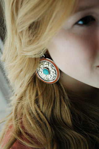 Coral  and Turquoise Inlaid Earrings