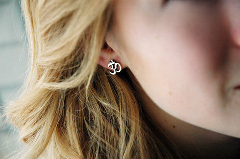 Sterling Silver Om Post Earrings