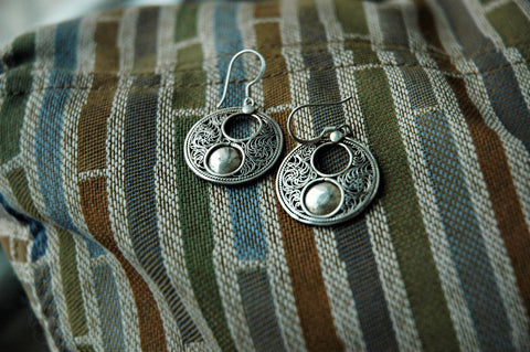 High Double Loop Sterling Silver Earrings