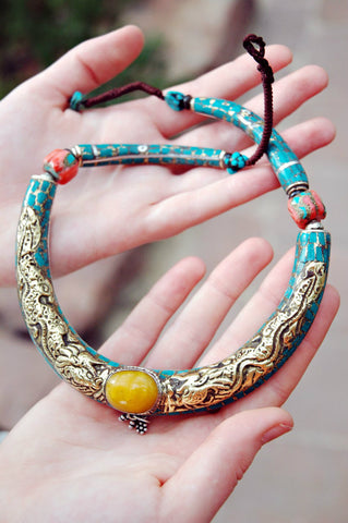 Vintage Amber and Turquoise Necklace