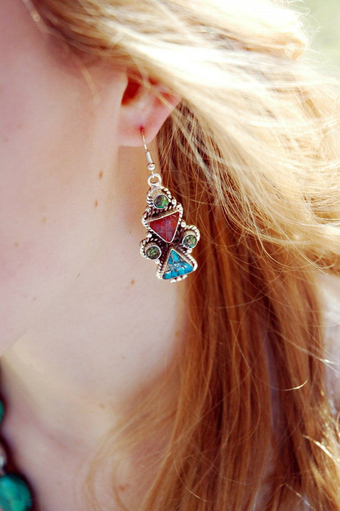 Turquoise and Coral Triangle Earrings